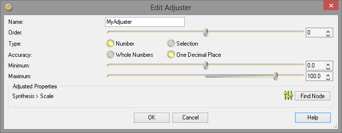 Adjuster editor in Genetica 4.0