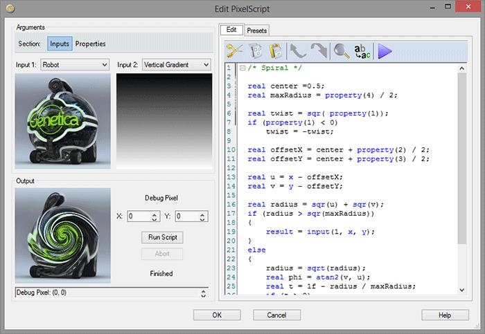 PixelScript Editor in Genetica 4.0
