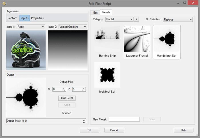 Примеры скриптов в библиотеке заготовок PixelScript