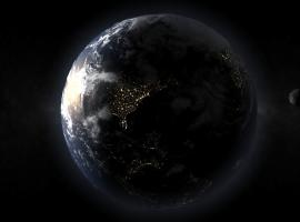 3D Earth From Space with Atmosphere and City Lights