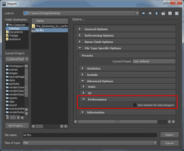 FBX Import in Maya Settings