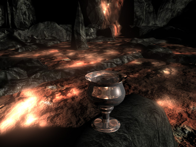 Cup rendered with HDRI Environment - inside the magma cave