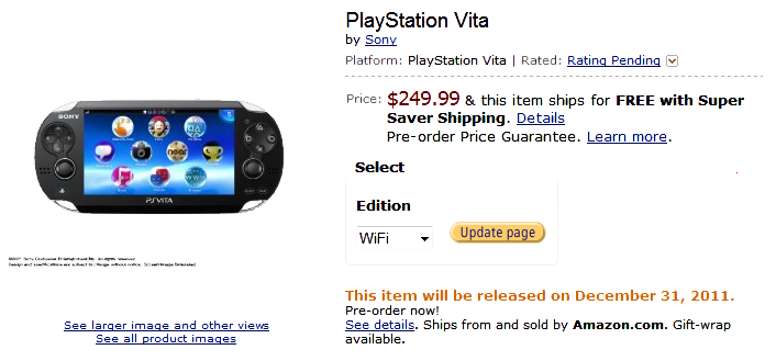 PlayStation Vita on Amazon