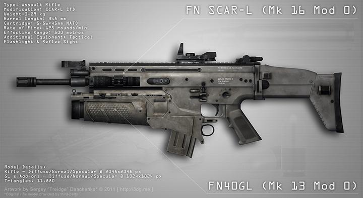 Штурмовая винтовка SCAR-L с подствольным гранатомётом